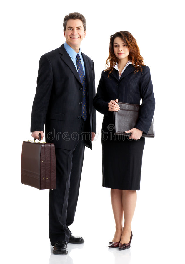 Business people. Young smiling business woman and business man stock images