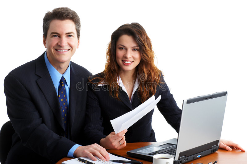 Business people. Working with laptop. Over white background stock images