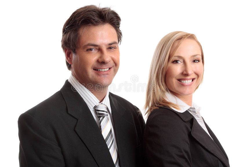 Business people. Two sucessful business partners or colleagues smiling confidently stock photo
