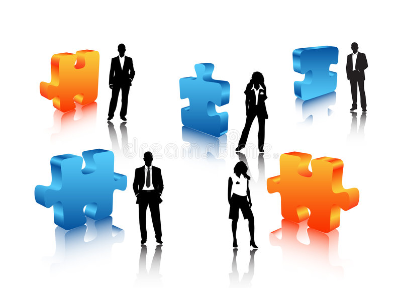 Business people. Illustration of business people with puzzle vector illustration