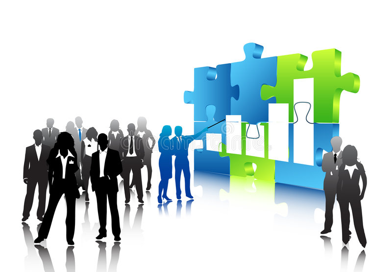 Business people. Illustration of business people and puzzle vector illustration