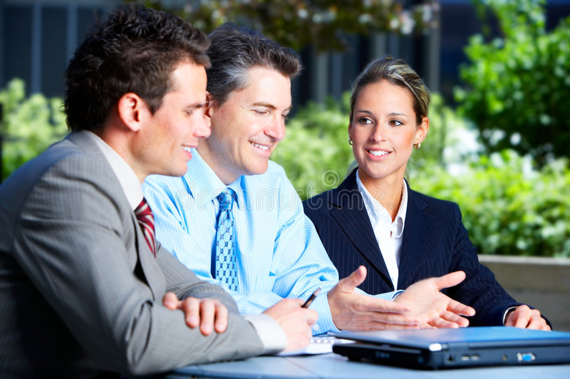 Business people. Meeting in the downtown. Businessmen and business woman stock image
