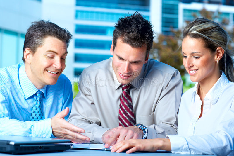 Business people. Meeting in the downtown. Businessmen and business woman royalty free stock images