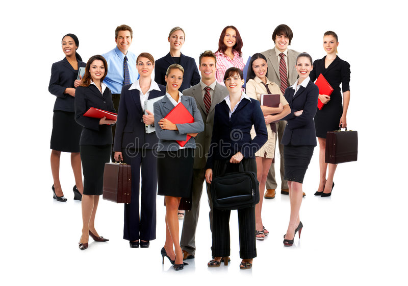 Business people. Smiling business people. Isolated over white background royalty free stock image