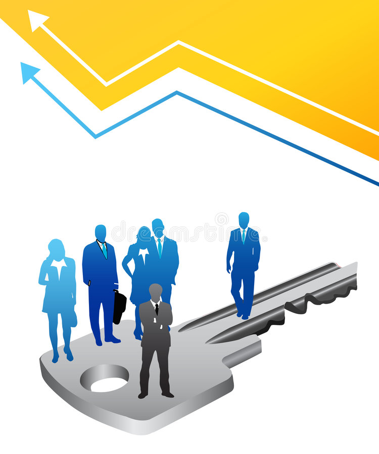 Business people. Vector illustration of business people on the key stock illustration