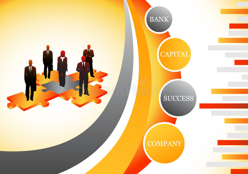 Business people. Vector illustration of business people on the puzzle stock illustration