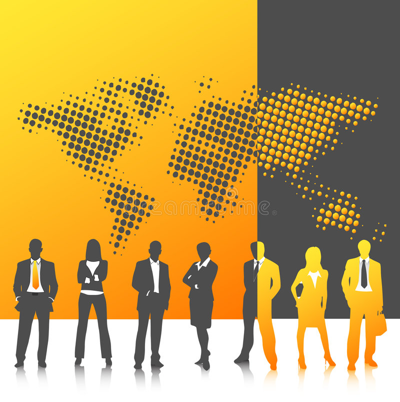 Business people. Vector illustration of business people with world map stock illustration