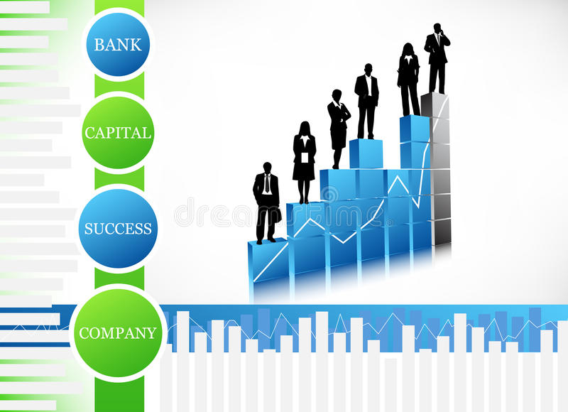 Business people. Vector illustration of business people on the graph royalty free illustration