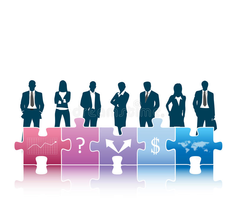Business people. Vector illustration of business people with puzzle stock illustration
