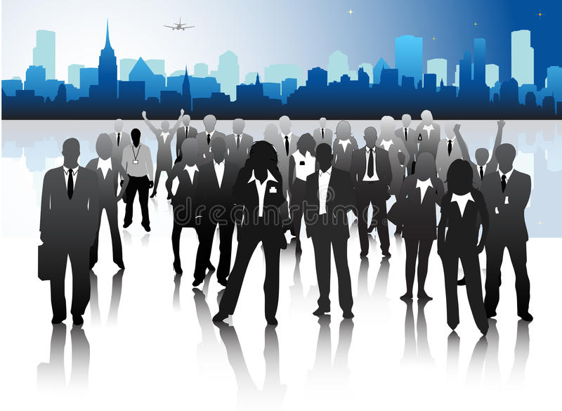 Business people. Vector illustration of business people in the city royalty free illustration