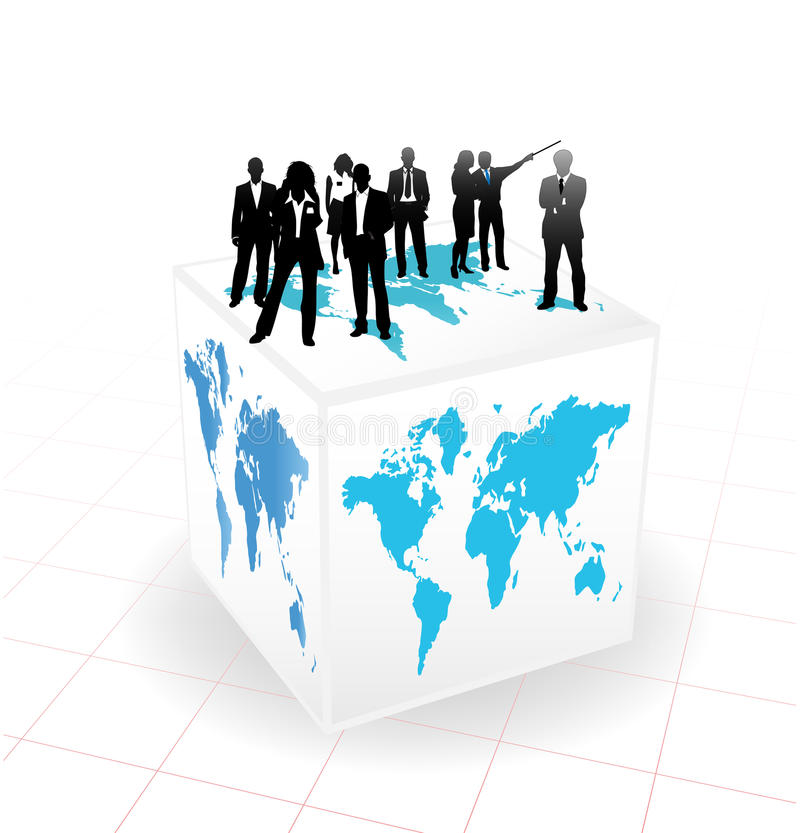 Business people. Vector illustration of business people on the cube vector illustration