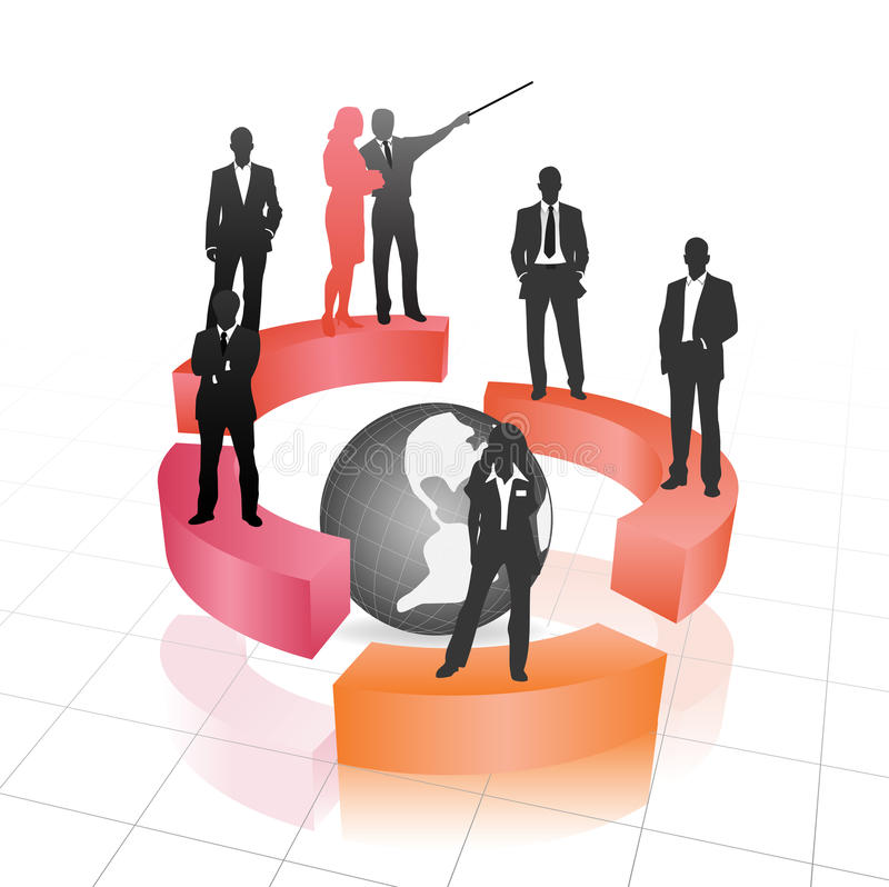 Business people. Vector illustration of business people with globe royalty free illustration