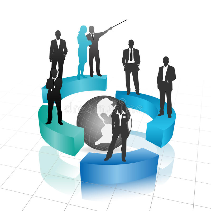 Business people. Vector illustration of business people with globe stock illustration
