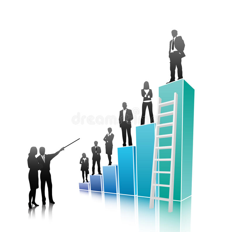 Business people. Vector illustration of business people on the graph stock illustration