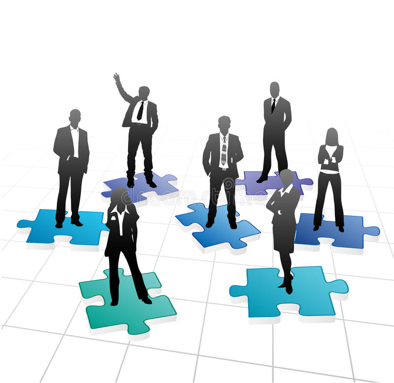 Business people. On the puzzle royalty free illustration