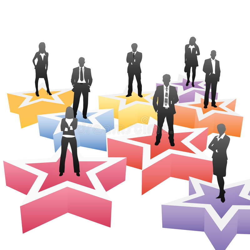 Business people. Vector illustration of business people on the star vector illustration