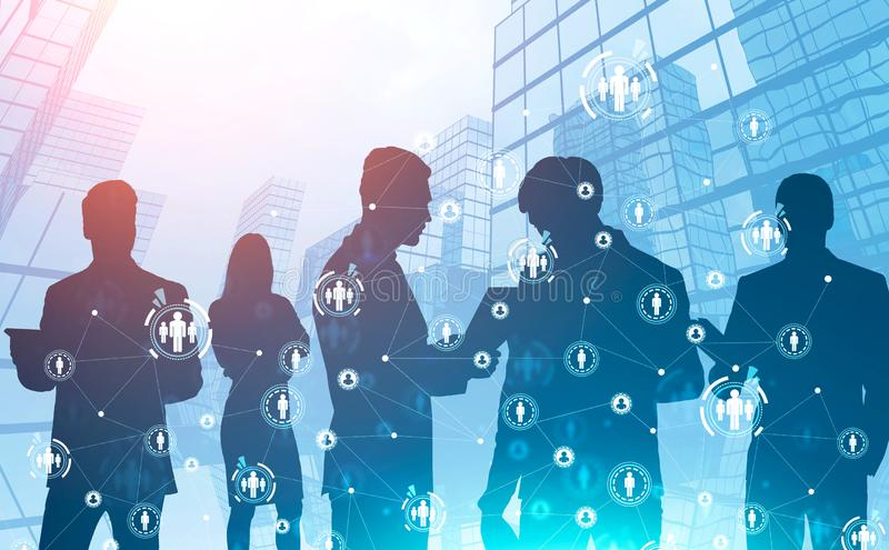 Business people in abstract city, social network stock images