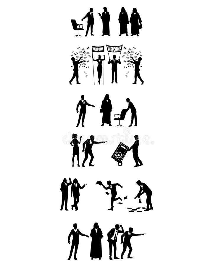 Business people in action vector illustration