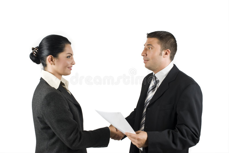 Business people agreement. Two business people sign a contract and make a deal,more photos with this models in stock photos