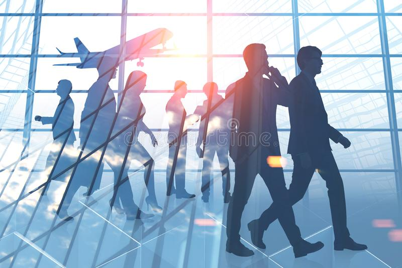 Business people in airport vector illustration