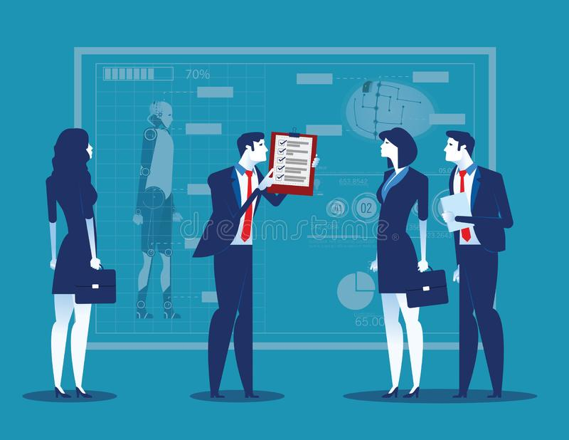 Business people with analysis results and presentation to partners. Concept business vector illustration stock illustration