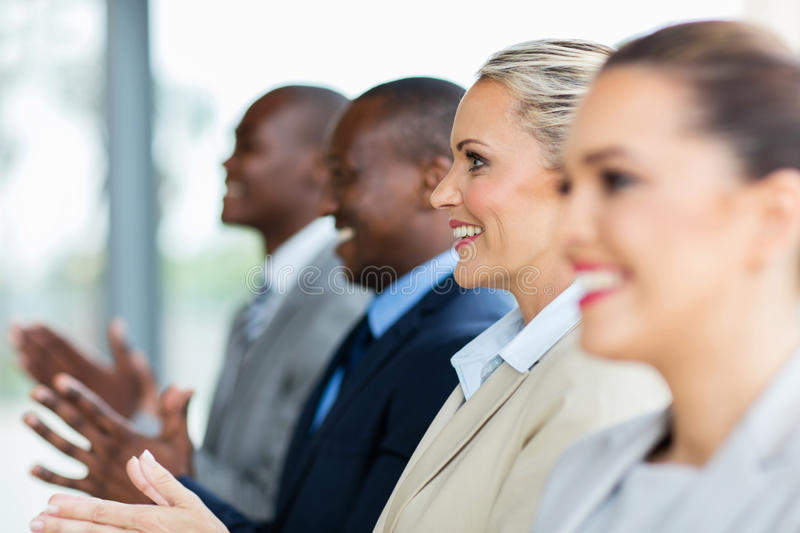 Business people applauding royalty free stock images