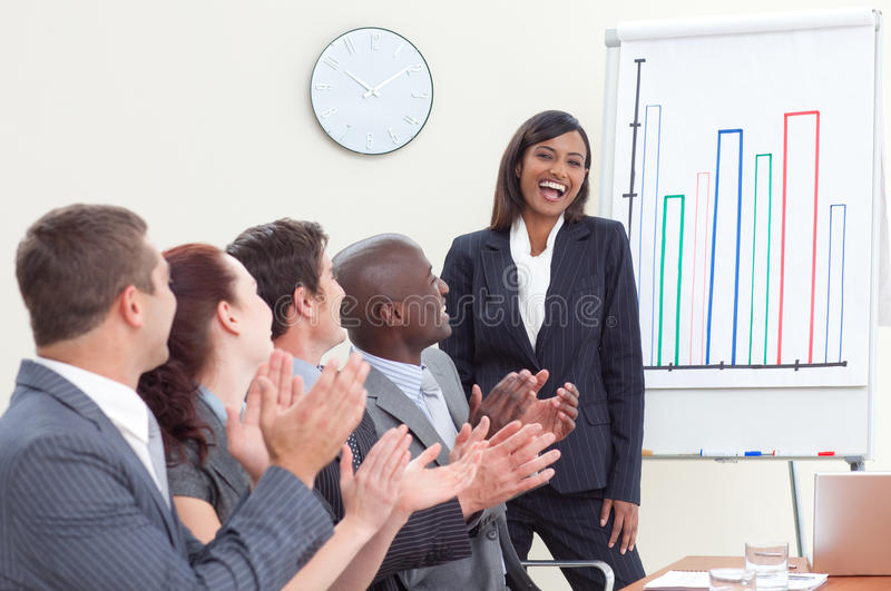 Download Business People Applauding Her Colleague Stock Photos - Image: 11271713