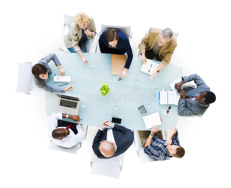 Business People Around The Conference Table. Group Of Business People Around The Conference Table Having A Meeting stock images