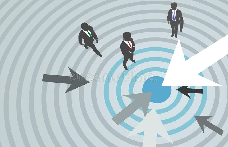 Business people arrows target marketing center royalty free illustration