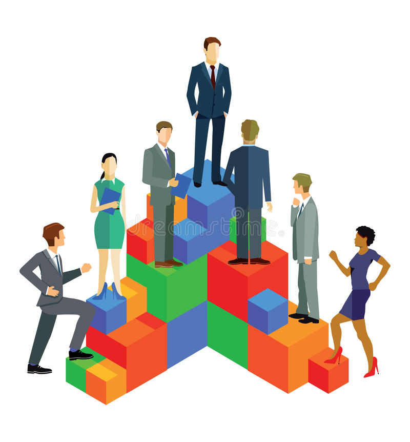 Business people ascending on blocks. An illustration of business people ascending on a set of rising blocks. Career and advancement concept vector illustration