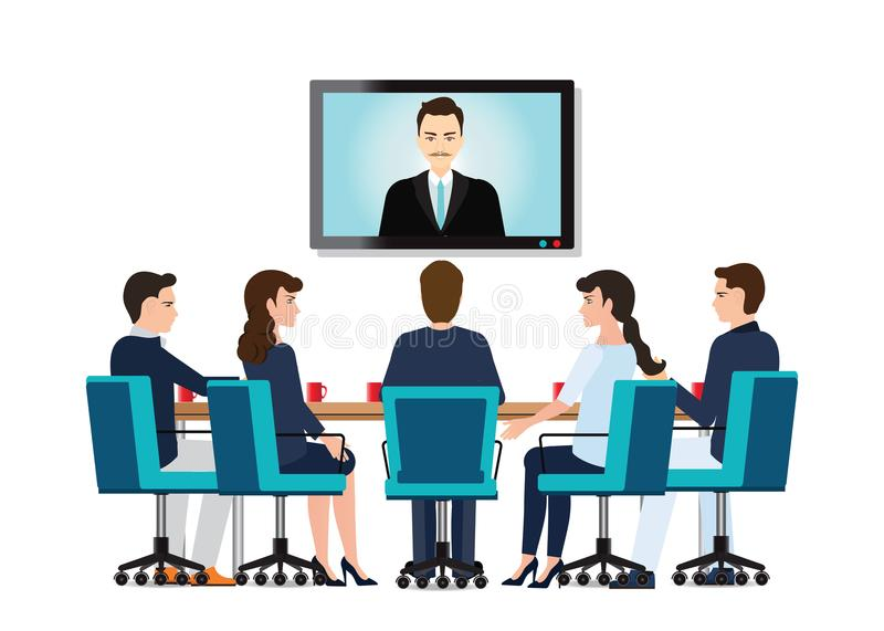 Business people attending videoconference meeting. Business people attending videoconference meeting isolated on white background, Business conceptual vector royalty free illustration