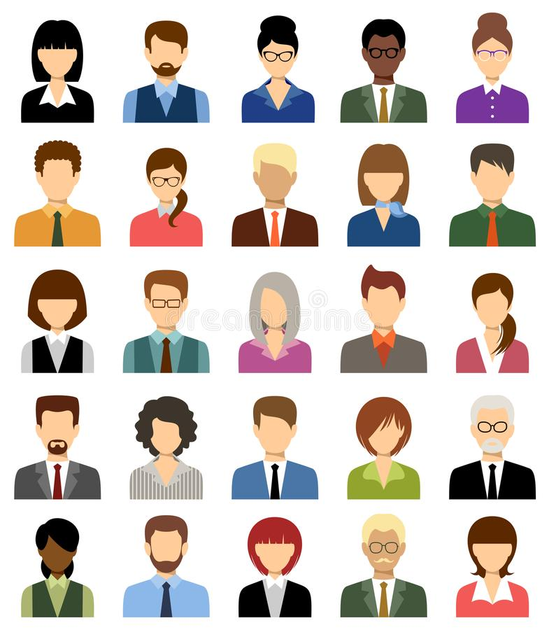Business people avatars. Women and men office. Vector royalty free illustration