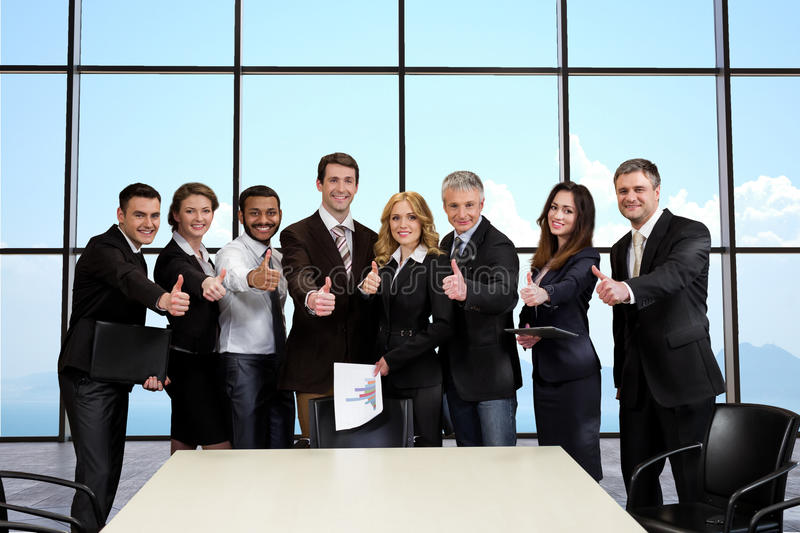 Business people on the background of sky. stock image