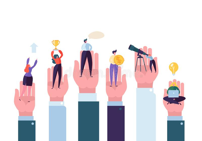 Business People in the Big Hands Reaching the Goal. Helping Hand Assistance and Support Concept. Successful Business. Characters. Vector illustration vector illustration