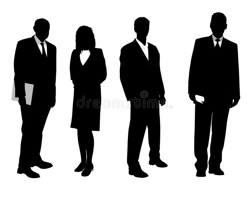 Business people in black vector illustration