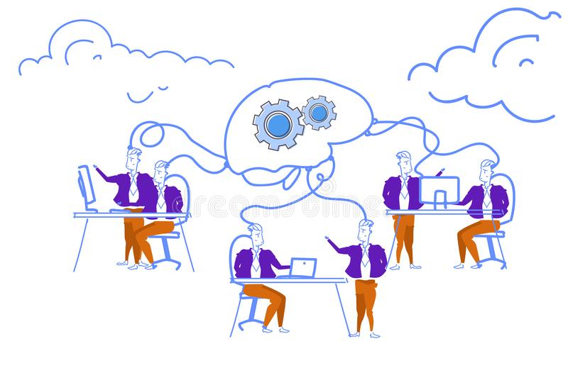 Business people brainstorming network process creative brain gearwheel mechanism men generating successful project. Processing horizontal sketch doodle vector royalty free illustration