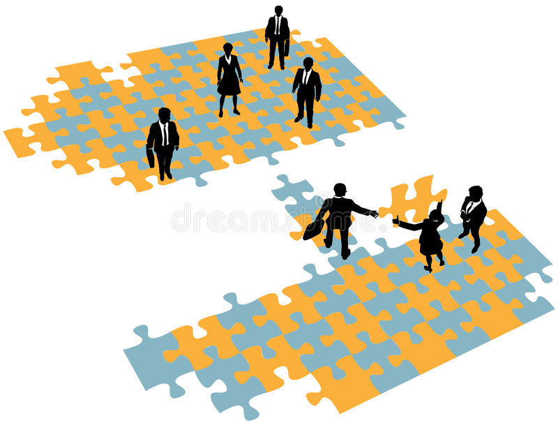 Business people build bridge join teams stock illustration