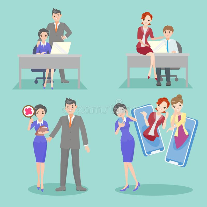 Business people with bullying problem stock illustration