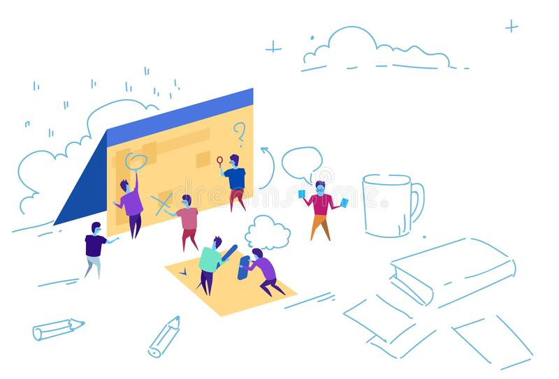 Business people calendar strategy planning concept team working together brainstorming sketch doodle horizontal stock illustration