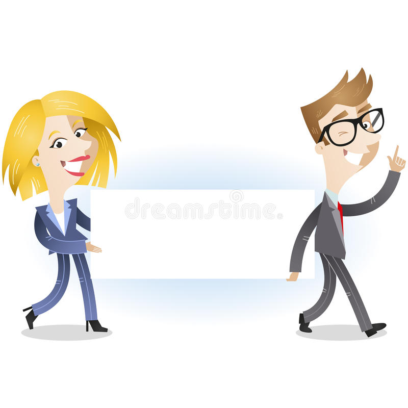 Business people carrying blank message board vector illustration