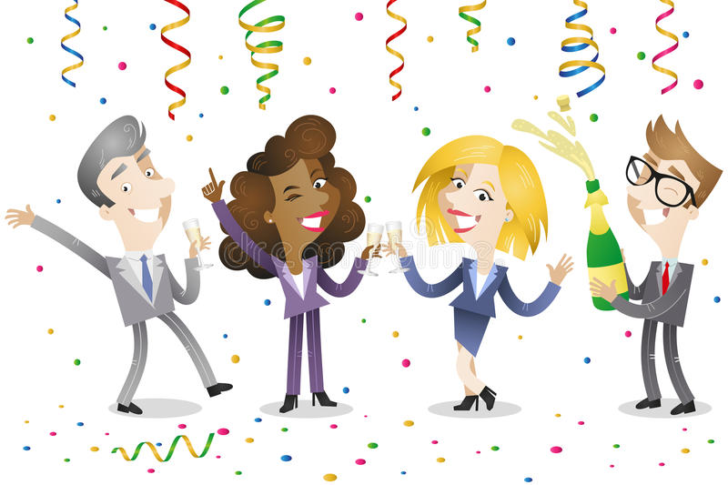 Business people celebrating. Vector illustration of a group of happy cartoon business men and women celebrating and drinking champagne with festoons and confetti vector illustration