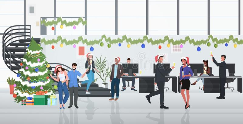 Business people celebrating corporate party coworkers drinking champagne merry christmas happy new year winter holidays royalty free illustration