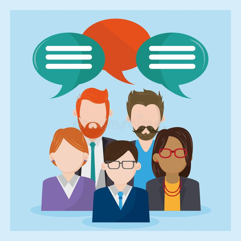 Business people character talking with bubbles stock illustration