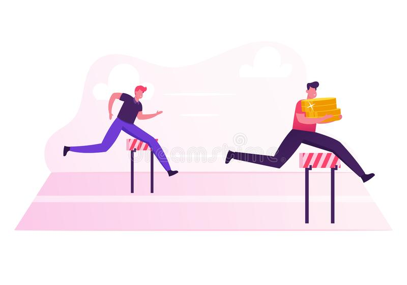 Business People Characters Running Competition. Businessman Holding Huge Pile of Golden Coins in Hands Jump vector illustration