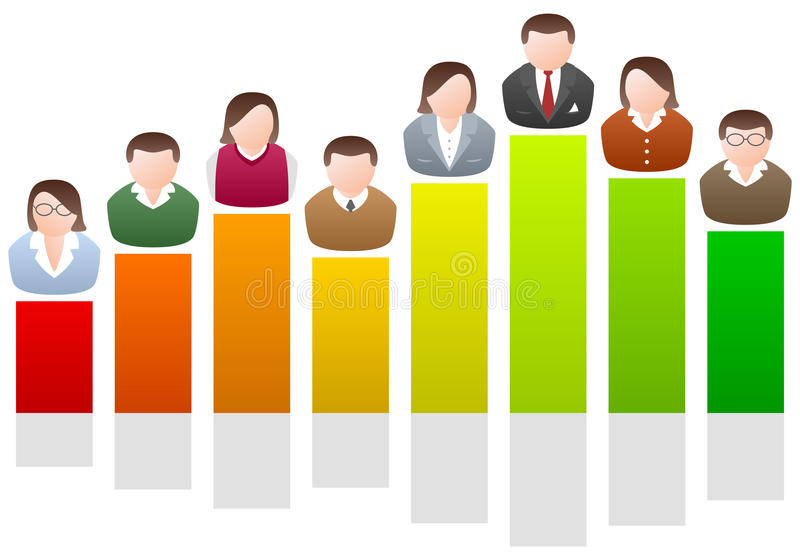 Business People on Chart. Business people avatars on a colorful chart. Business, teamwork or achievement concept. Eps file available vector illustration