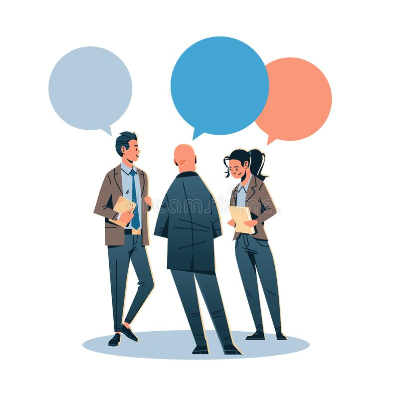 Business people chat bubble communicating concept businessman woman rear view speech relationship male female cartoon. Character full length isolated flat stock illustration