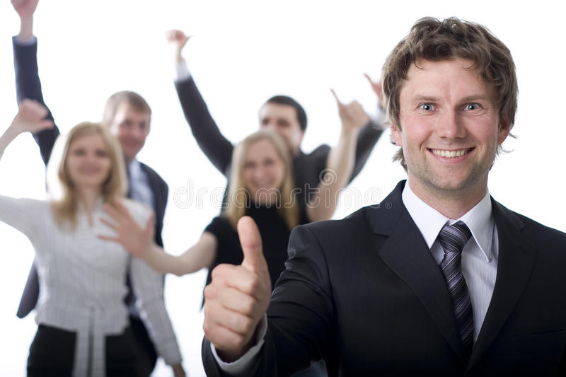 Business people cheer for success royalty free stock image