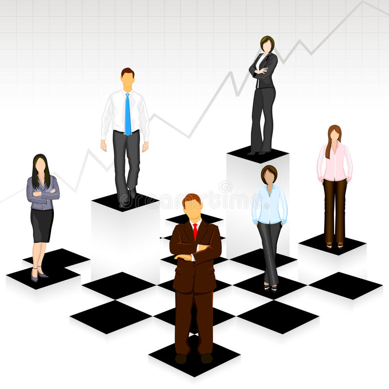 Business People on Chess Board stock illustration