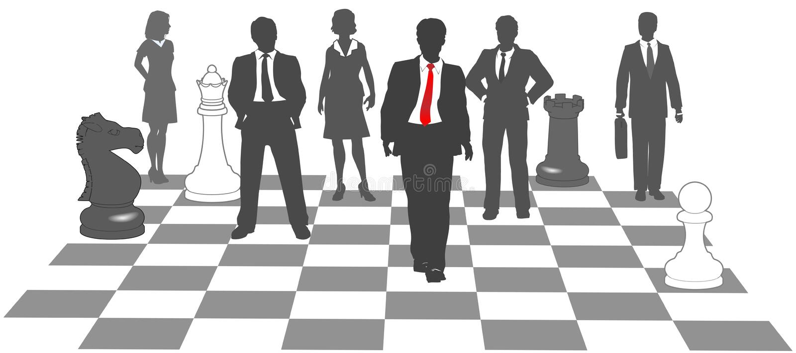 Business people chess team win game stock illustration