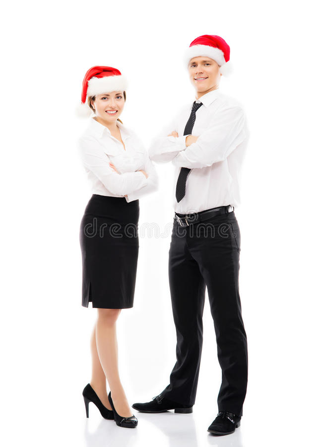 Business people in Christmas hats. Isolated on a white background stock photo